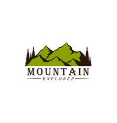 mountain explorer adventure badge logo vector image