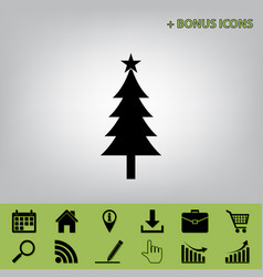 New year tree sign black icon at gray vector