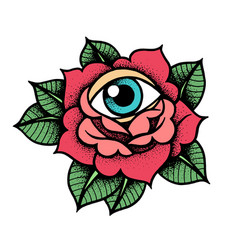 old school rose tattoo with eye vector image