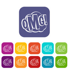 omg comic text speech bubble icons set flat vector image