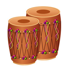 Pair musical instrument punjabi drum dhol indian vector