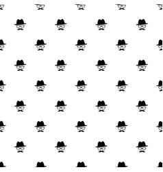 pattern with black gentleman portrait icon vector image