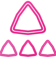 Pink line triangle logo design set vector image