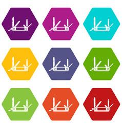 pocket flashlight icon set color hexahedron vector image