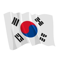 political waving flag of south korea vector image