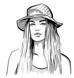 pretty girl portrait blonde woman with hat vector image