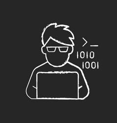Programmer computer expert chalk white icon vector