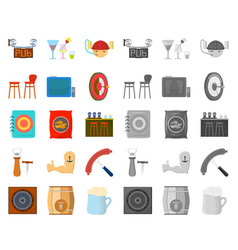 Pub interior and equipment cartoonmono icons in vector