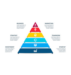 pyramid infographic with 6 options vector image