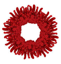 red chrysanthemum flower wreath vector image