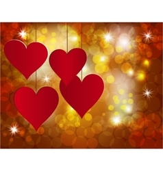 Red heart on a celebratory background Postcard in vector image