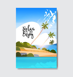 Relax enjoy summer landscape palm tree beach badge vector