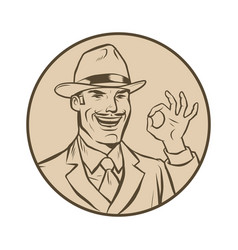 retro businessman ok gesture vector image