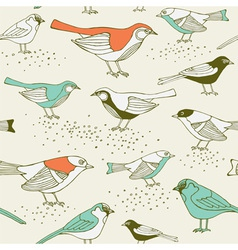 Retro Sparrow Birds Pattern vector image