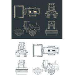 Road roller blueprints vector