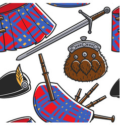 scottish national outfit elements seamless pattern vector image