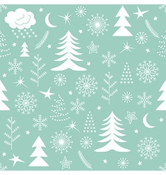 Seamless Christmas pattern green vector