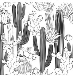 Seamless pattern with cactus wild cacti forest vector