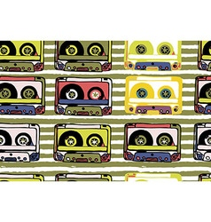 Seamless pattern with cassettes vector