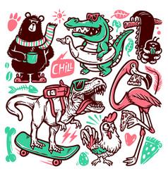 set animal doodle vector image