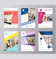 set annual report brochure flyer design vector image