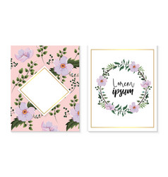 Set card and label with flowers and branches vector