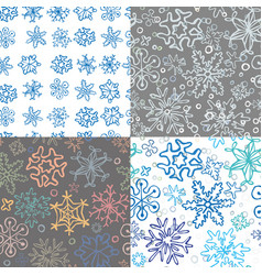 set of 4 seamless snowflake pattern vector image
