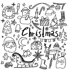 set of hand drawn doodle christmas icons vector image