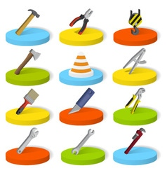 Set of industrial tools in isometric style vector image
