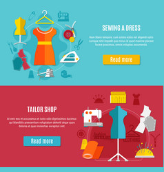 sewing clothes banners set vector image
