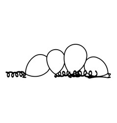 Silhouette balloons with serpentine on the floor vector