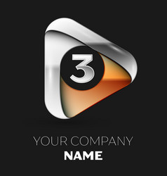 silver number three logo in golden-silver triangle vector image