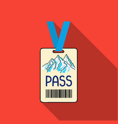 Ski pass icon in flate style isolated on white vector