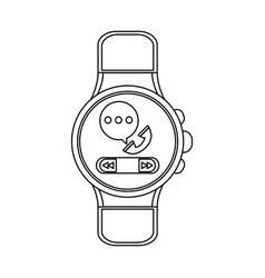 smartwatch wearable technology in black and white vector image