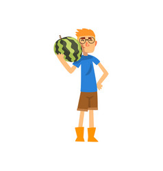 smiling male farmer with watermelon cheerful vector image