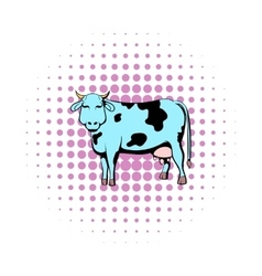 Spotted cow icon comics style vector image