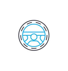 steering wheel thin line stroke icon vector image