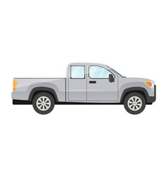 Sticker grey pickup passengers car on white vector