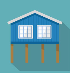 Stilt house icon flat style vector