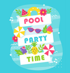 summer pool or beach party poster or invitation vector image vector image