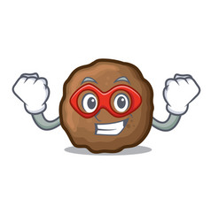 Super hero meatball character cartoon style vector