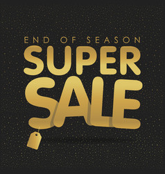 super sale offer poster banner golden text vector image