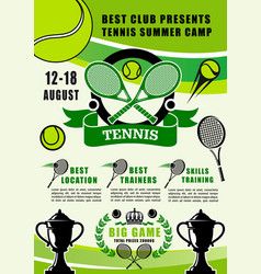 tennis sport summer camp training club vector image