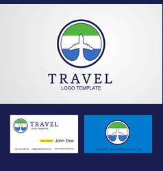 Travel sierra leone creative circle flag logo and vector