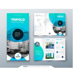Tri fold brochure design blue business template vector