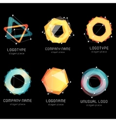 Unusual abstract geometric shapes logo set vector