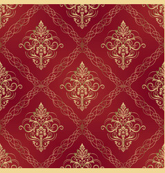 wallpaper in style baroque seamless damask vector image