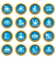 water sport icons blue circle set vector image