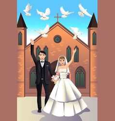 Wedding couple releasing white doves vector