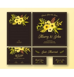 wedding set various cards vector image